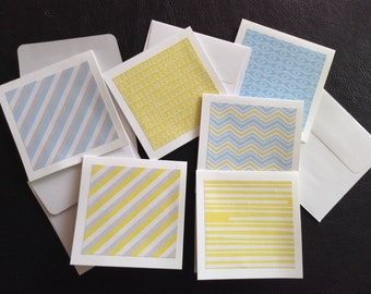 Set of 6 or Set of 12 Handmade Mini Cards, Mini Note Cards, Gray/Yellow/Light Blue Color Theme,Thank You, Congratulations, Baby Cards