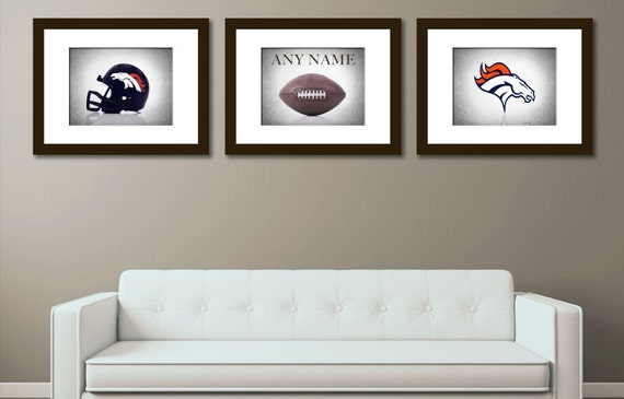 Personalized Set Of 3 Denver Broncos Photo By Ipraystudio