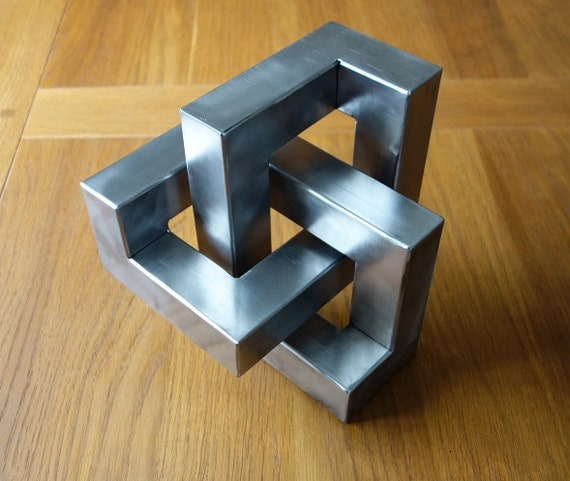 Metal trefoil sculpture optical illusion metal art and cool - Simple metal art projects ...