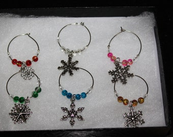 6 snowflake wine glass charms