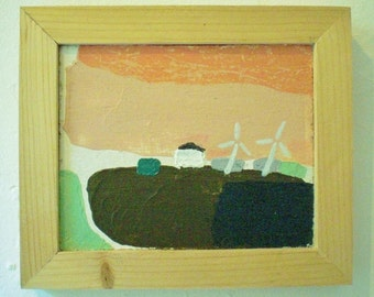 Minimalistic landscape. Acryl painting, wooden frame, +/-  16 x 20 cm.