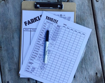 8.5x11 laminated double sided yardzee farkle scorecard - score card - dry erase marker and clipboard