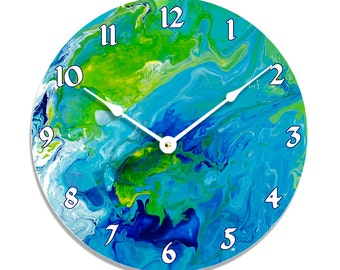 Contemporary abstract fluid acrylic painting design 10 inch wall clock. Full of blue, white and green colors. CL3237