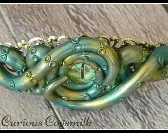 Green & Gold Cthulhu Headband - Tentacle Headband - Cthulhu Hair Accessory - Steampunk Hair Accessory - Lovecraft Themed