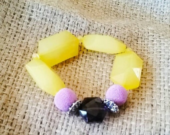Purple & Yellow Stretch Bracelet