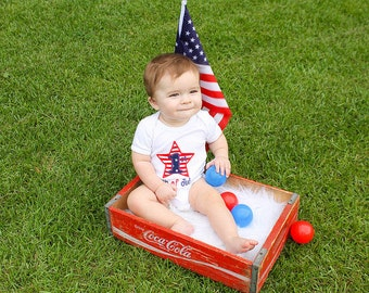 First 4th of July,Boys July 4th,Boys Patriotic Outfit,Applique Embroidered Shirt Bodysuit