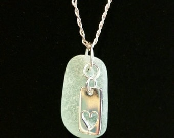 Soft green beach glass charm necklace
