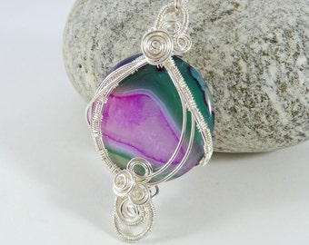 Agate Gemstone Necklace, Wire Wrapped Pendant, Semi Precious Bead, Gift for Her, Birthday Gift, Pink, Green, Wire Jewelry, Wirework Pendant