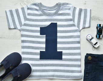 Grey Striped 1st Birthday Shirt | Baby Boy First Birthday Outfit | Boy 1st Birthday t-shirts | Stripy SS Appliqué 1