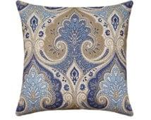 Kravet Ikat Pillow Cover, Tan, Cream, Denim Blue Decorative Pillow, Latika Delta Medallion Linen Throw Pillow, Kravet Wedgewood Blue Pillow
