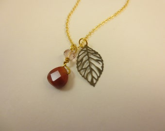 Gold Antiqued Leaf and Bead Charm Necklace with Gold Filled Chain