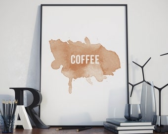 Coffee stain poster, printable, typography art, digital, download A4 print.