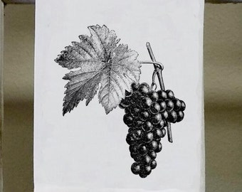 Grapes, Kitchen Towel, Dish Towel, Vintage Grapes Illustration, Bar Towel