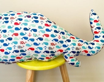 Decorative Whale Pillow Nursery Decor Kids Room Cushion Blue Nautical