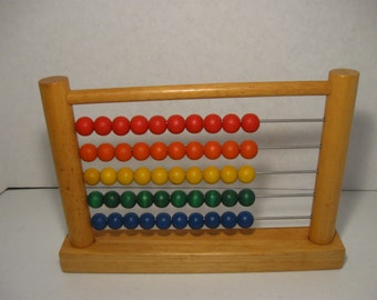 Vintage  Play Toys Abacus Wood Colorful Plan Toys