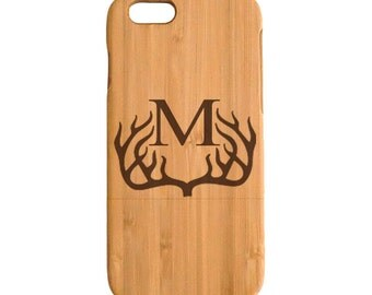 Personalized iphone 6s Case Wood,Monogrammed Antler iphone 6s plus Case,Initial iphone Case,Rustic Deer Wood Iphone Case,Wedding Gift