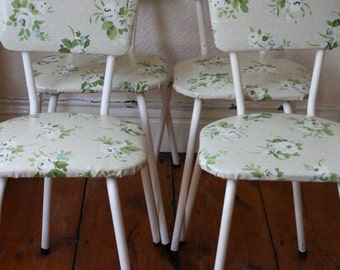 Set of Four Upcycled 60s Kitchen Chairs