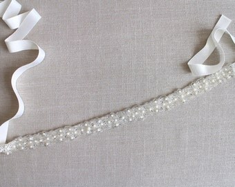 Ready to ship/ Opal sash/ Vintage-inspired beaded sash belt, Wedding belt, Rustic wedding, Boho-chic wedding, Bridal