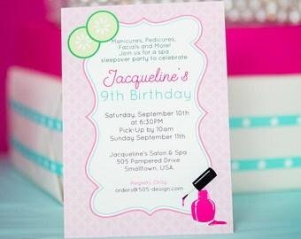 Spa Party Invitation -  Printable Spa Invitation - Spa Birthday Invitation  - Pink Spa Invitation by Printable Studio
