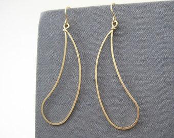 Gold Geometric Earrings - paisley earrings, minimalist dangle thin hoops, work wear jewelry