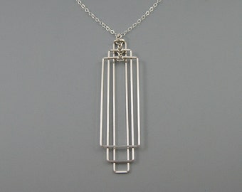 Rectangle Necklace - art deco wedding, silver geometric architecture jewelry, math teacher and engineer gifts - Tiered Rectangular