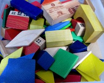Wooden Bricks - Building Blocks - Vintage Toy - Vintage Toy Bricks - Traditional Toy - Construction Toy - Brick Set - Coloured Bricks