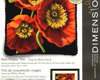 Red Poppy Trio Counted Cross Stitch Kit