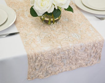 Blush Lace Sheer Table Runner | Wedding Table Runners