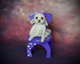 OOAK Rabbit Miniature with chair