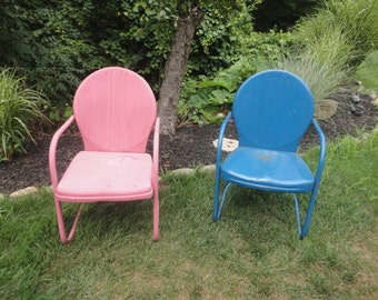 Vintage Metal Motel Shell Spring Rocker Patio Lawn Chairs set of Two (2) - local pickup or delivery