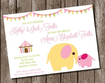 PRINTABLE Baby Girl Elephant Shower Invitation