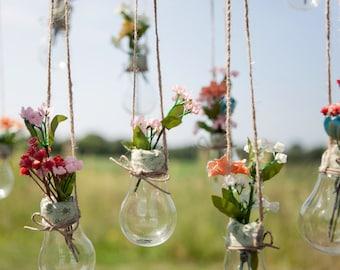 Light Bulb Vases, Hanging Light Bulbs, Glass Light Bulbs, Wedding Decor, Cottage Chic, Vintage, or Rustic Barn Wedding