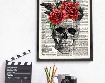 Skull with Flowers, Skull Print, Skull Gifts, Skull and Roses, Skull Decor, Skull Home Decor, Dictionary Print, Book Art, Geek Skull, 110