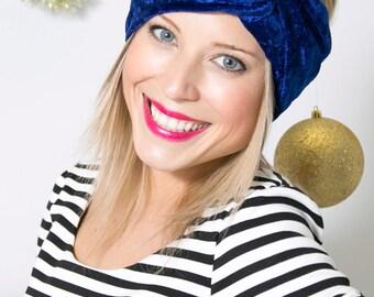 Royal Blue Velvet Turban Headband- Winter fashion headband- Warm Headband