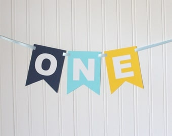 Navy, Blue, Yellow, White ,ONE High Chair Banner Happy Birthday Banner/ Boy Birthday/ Prince Party/ Party Decorations/ 1st birthday