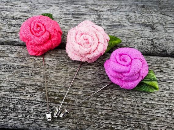 Pink Rose Lapel - Pink Lapel Flower - Men Lapel Flower - Wedding Lapel Flower - Pink Rose Pin - Grooms Lapel Flower - Wedding Lapel Flower