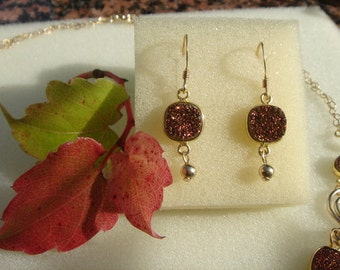 Glitter Druze earrings, beautiful in 585-er silver!