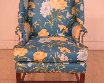 39986E: Chippendale Mahogany Upholstered Small Scale Wing Chair
