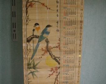 Wall calendar Vintage 1987, Kitsch 1987, Scroll calendar, Japanese art,