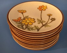 Vintage Mikasa Natural Bounty Southern Sun Set of 10 Salad Plates Retro Kitchen Yellow, Orange, and Green Cream with Brown Edge 1970s