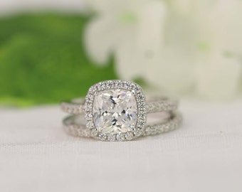 20ct halo engagement ring wedding ring set wedding ring cushion cut ring - Halo Wedding Ring Set