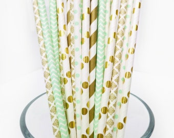 Mint and Gold Baby Shower, Mint Paper Straws, Mint and Gold Wedding, Mint and Gold Paper Straws, Bridal Shower Decor, Mint Party Decor