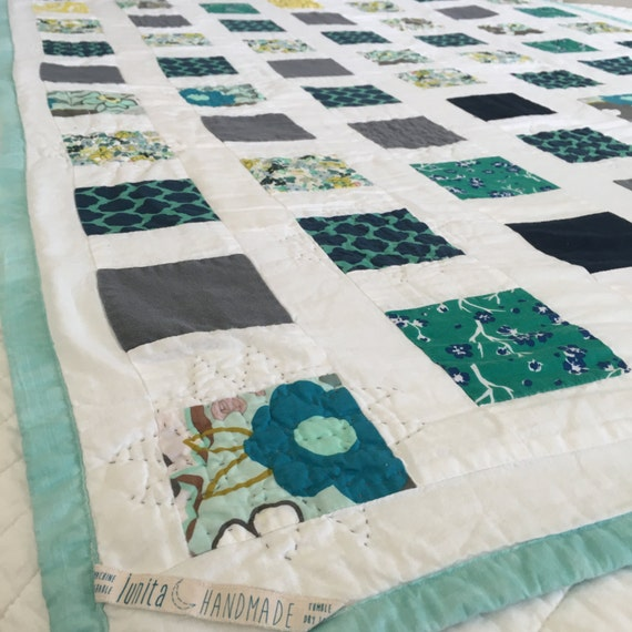 Modern Hand Quilting Patterns : Modern Baby Quilt Hand Quilted Blue Green Gray and
