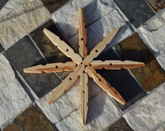 Wood Star Ornament, Star Tree Topper, Clothespin Ornament, Snowflake Clothespin Ornament