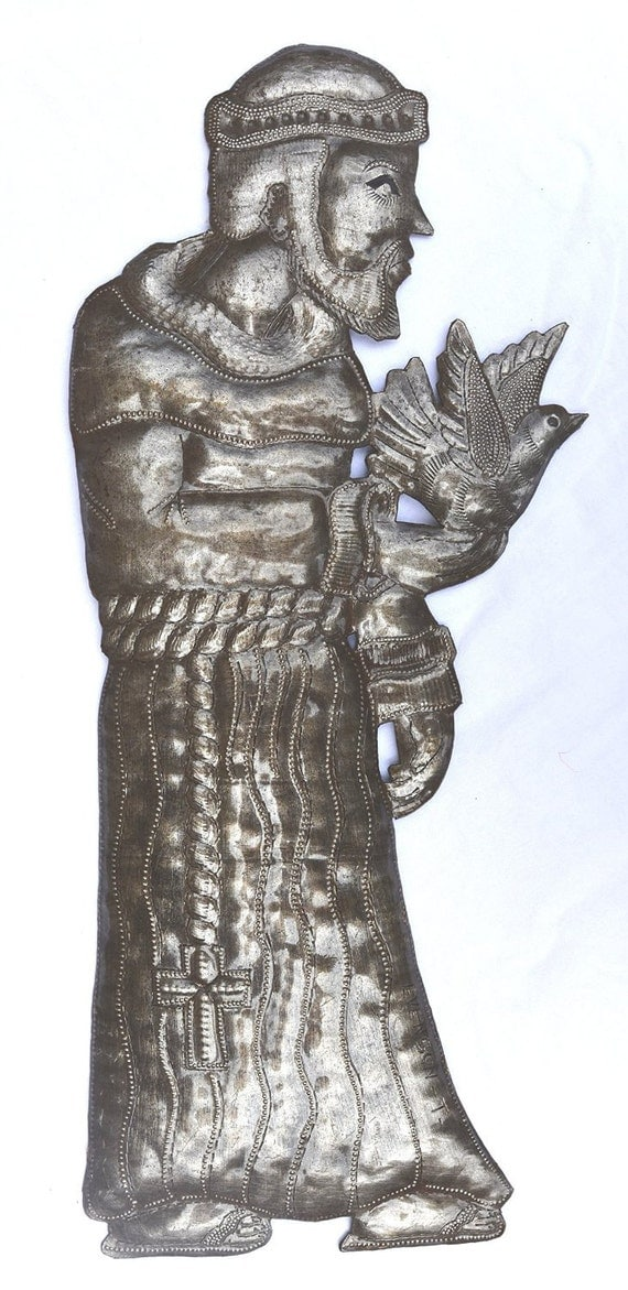 "Blessed Saint Francis, Haitian Metal Art, Spring Garden Religious Decoration, (7"" X 17.5"")"