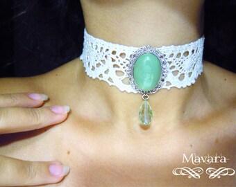 Victorian collar with aventurine quartz cabochons