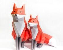 Red Fox Printable Digital Template DIY Papertoy Model