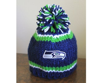 Seattle NFL team inspired Hand Knitted Baby Hat/beanie with pom-pom (Newborn to 12 months) Photo Prop w/ Logo