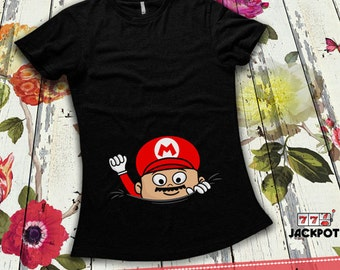 Peeking Baby Shirt Maternity Halloween Costume Gifts For Expecting Mothers Maternity Reveal Shirt Boy Maternity T-Shirt Ladies MD-516