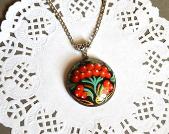 Wooden tribal pendant boho jewelry Ethnic Pendant hand painted Gift Ideas bridesmaids gifts black red paint Pendant Woodland jewelry tribal